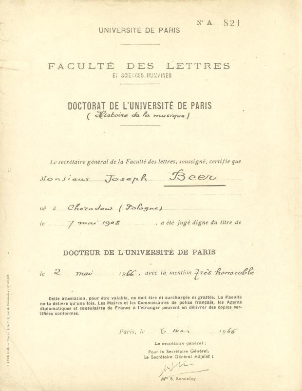 Beer Diplome de Doctorat