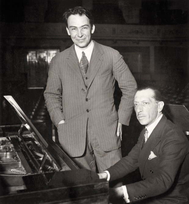 Portrait of Dutch conductor Dirk Fock and Russian composer Igor Stravinsky (b/w photo)